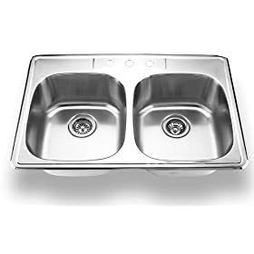 Yosemite Home Decor MAG3322C 18-Gauge Stainless Steel Topmount Double-Bowl Sink, 33-by-22-by-8-Inch, Satin