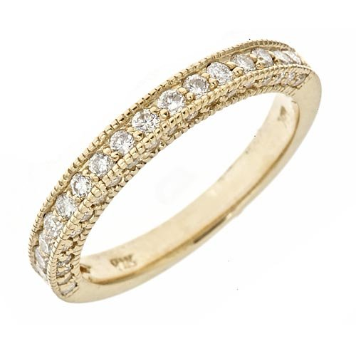 14K Yellow Gold Diamond Milgrain EdgeD Wedding Anniversary Band Ring Antique Style (0.70Cttw, SI Clarity, F Color)