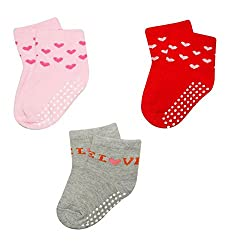 Wonderkids 3 Piece Printed Baby Socks - Pink, Red, Grey