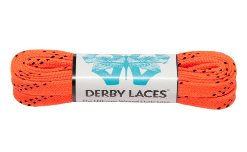 Orange 60 Inch Waxed Skate Lace - Derby Laces for Roller Derby, Hockey and Ice Skates, and Boots