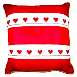 Homeblendz Cotton Red/white 40x40 Cushion Cover With 2 Layers Of Printed Border In Heart Design - B00M87617Y