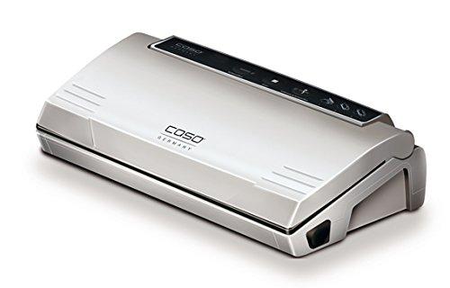 CASO VC 100 Vakuumierer (1380) / doppelte Schweißnaht / Vakuumregulierung per Stopptaste / natürliches Aufbewahren ohne Konservierungsstoffe / inkl. 10 gratis Profi-Beutel & Vakuumierschlauch für Behälter