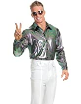 Big Sale Best Cheap Deals Mens Large 42-44 Metallic Rainbow Disco Costume Shirt