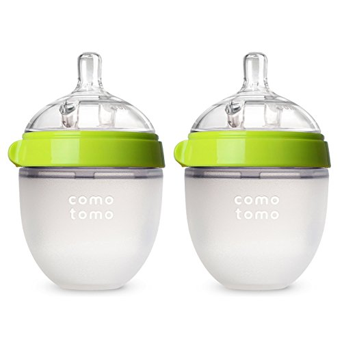 Comotomo Baby Bottle, Green, 5 Ounce, 2 Count (Baby Bottle Slow Flow compare prices)