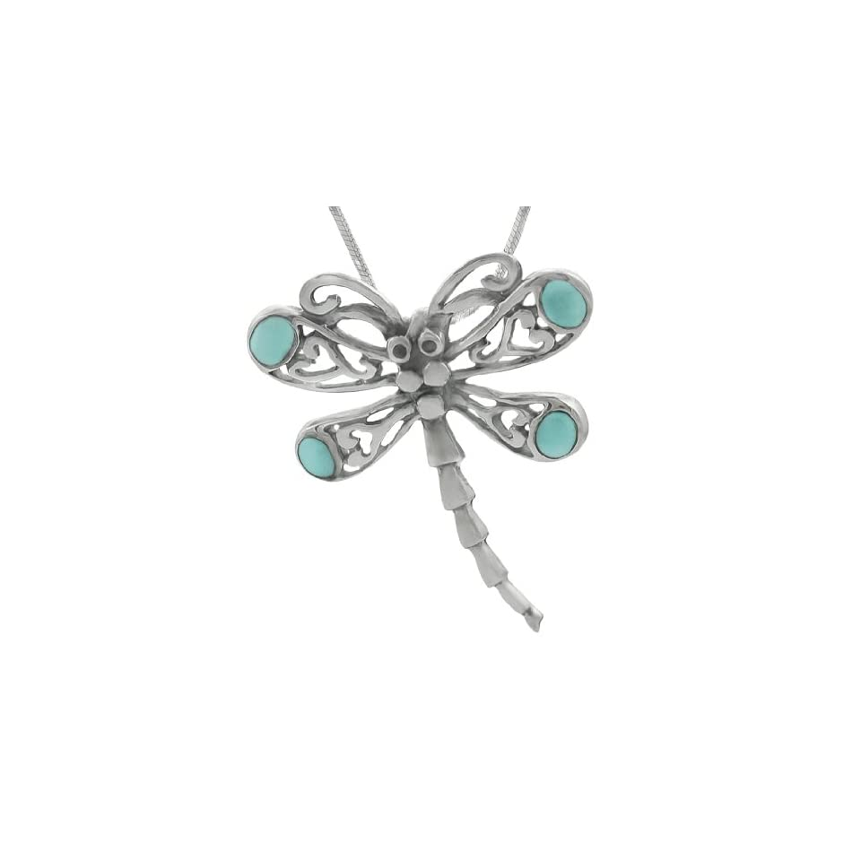 Sterling Silver Turquoise Dragonfly Necklace