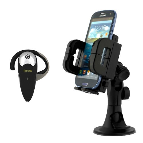 Ikross 3In1 Car Vehicle Windshield / Dashboard / Air Vent Mount Holder + Wireless Bluetooth Handsfree Headset For Lg G3, Volt, Optimus Exceed 2, Optimus L90, Optimus L70, Lucid 3, Optimus Zone 2, G Pro 2, G2 And More Cellphone Smartphone