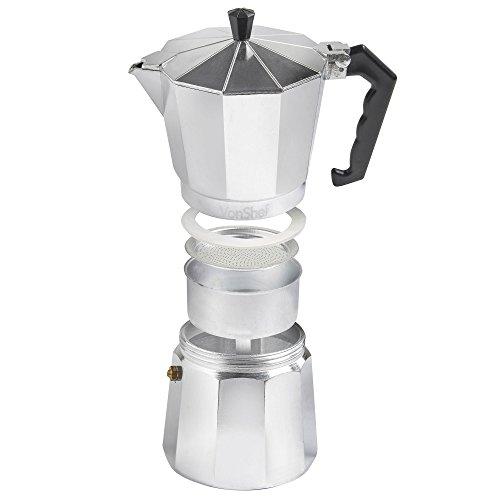 VonShef Italian Espresso Coffee Maker Moka Stove Top Macchinetta in 3 Cup, 6 Cup, 9 Cup or 12 ...
