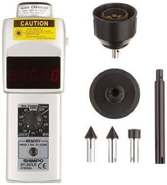 "Shimpo DT-207LR Handheld Tachometer with 6"" Wheel, LED Display, 6 - 99999rpm Range"