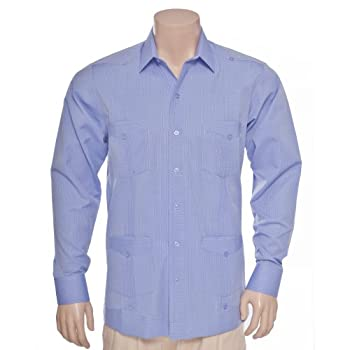 Deluxe Long Sleeve Stripes blue Guayabera by Mycubanstore
