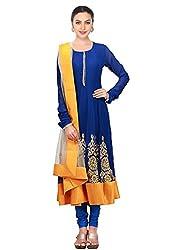 Fabron Women's Georgette Semi Stitched Anarkali Suit (S110_Blue)
