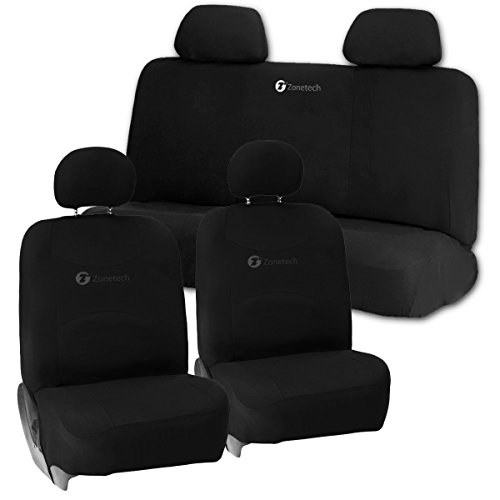 Zone Tech Universal Foam Car Seat Covers - 2 Black Front Bucket Covers and 1 Black Solid Bench Cover (Car Bench Seat Cover Automobile compare prices)