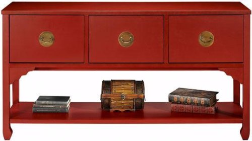 Wuchow Three drawer File Console, 3-DRAWER CONSOL, ANTIQUE RED