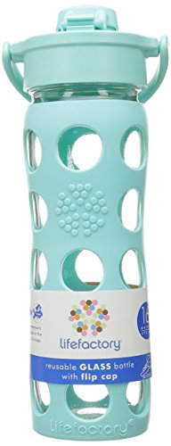 Lifefactory Unisex Glass Bottle with Flip Cap 16 oz. Turquoise Water Bottle 16 oz