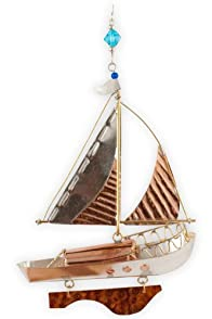 Pilgrim Imports Sailboat Metal Fair Trade Ornament