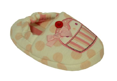 Girls Pink White Cupcake Spotty Slippers Size 8 Kids Infant Style 038