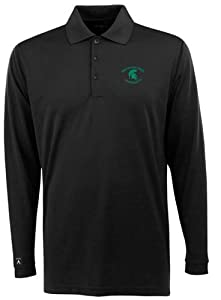Michigan State Long Sleeve Polo Shirt (Team Color) by Antigua