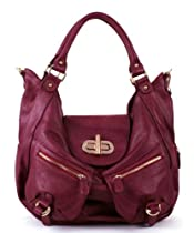 Hot Sale Melie Bianco Alyssa Expandable Shoulder Bag with Front Pockets (Berry)