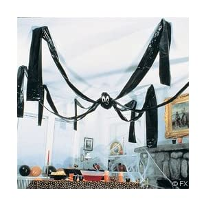 20 FOOT GIANT HANGING HALLOWEEN FRIENDLY BLACK SPIDER - PLASTIC
