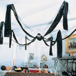 McToy Hanging Halloween Plastic Spider, 20 Foot, Black - 1