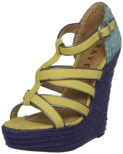 Ravel Women's Jenny Yellow/Turquoise Wedges RLP751