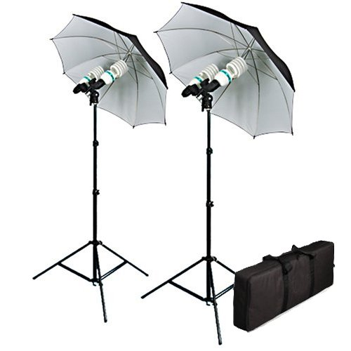 Cowboystudio 1200 Watt Photography, Video, and Portrait Studio Umbrella Continuous Lighting Kit With Four 85 Watt, 5500K Day Light Balanced CFL bulbs, Black and White Reflective Umbrellas, Stands, and Carrying Case