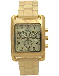 Cream Nacre Dial Triple Crown Chronograph Diver Style Gold Stainless Steel Actress Women Watch