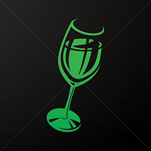 Sticker Glass Of Wine Decoration Motorbike Bicycle Vehicle Atv Car Lap Green (24 X 12.1 In)