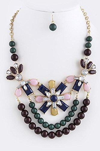 Trendy Fashion Jewelry Faux Gem Accent Tiered Necklace Set By Fashion Destination | (Brown)