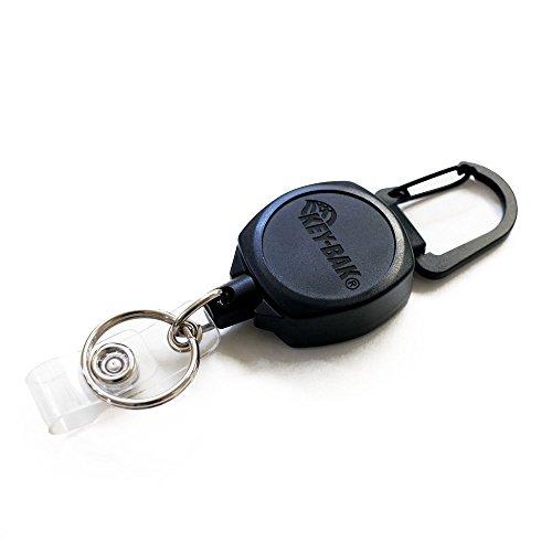 KEY-BAK SIDEKICK ID Badge and 4oz. Key Reel, 24 in. (61 cm) Kevlar Cord, Tough Polycarbonate Case, Zinc Alloy Metal Carabiner, Split Ring
