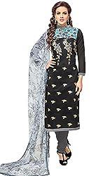 pakiza design new black chanderi cotton partywear salwar suit dress material for women