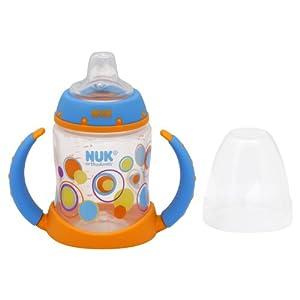 NUK Trendline Silicone Spout Learner Cup, Blue/Orange Dots, 5-Ounce
