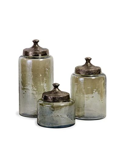 Set of 3 Round Luster Canisters, Green