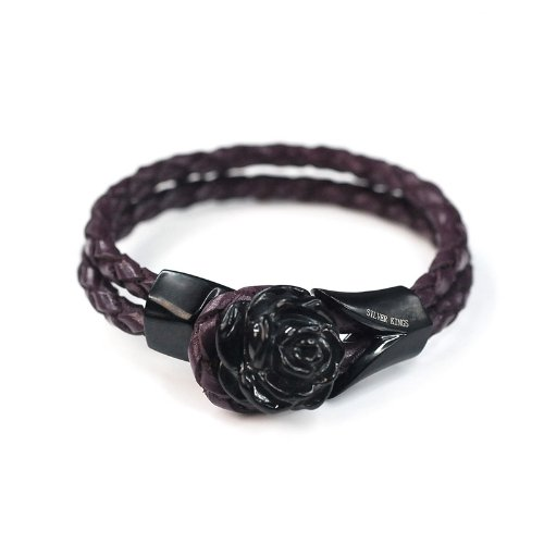 SilverKings Purple Genuine Leather Black Stainless