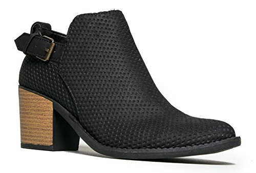 Perforated Stacked Wooden Block Heel Western Ankle Boot Bootie