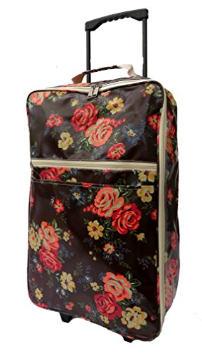 Ladies Wheeled Travel Bag Hand Luggage Cabin Flight Bag Womens Holdall Trolley Bag on Wheels Floral Print Gym Sports Maternity ***PINK*BLUE*BROWN***