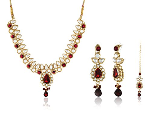 Ava Traditional Jewellery Set for Women (Golden and Red) (S-VS-036)