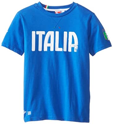 Puma - Kids Boys 8-20 FIGC Italia Graphic Tee, Team Power Blue, X-Large