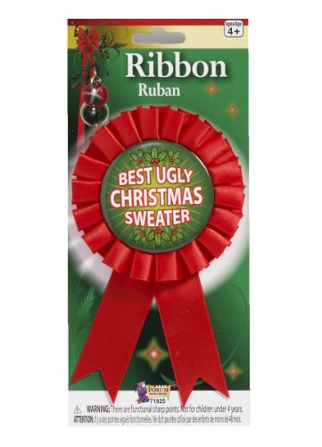 Best Ugly Christmas Sweater Award Ribbon-Red 6.25