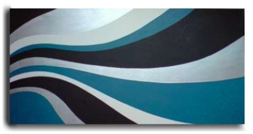 LARGE MODERN BLACK TEAL METALLIC SILVER CONTEMPORARY HAND PAINTED ART PAINTING ON STRETCHED CANVAS by Lucy-Elise Designs ** FREE SHIPPING **