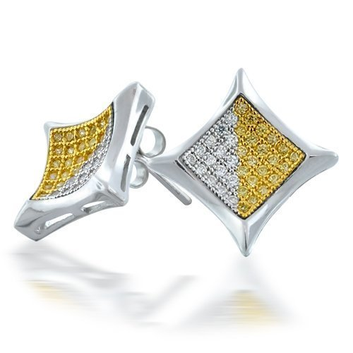 Bling Jewelry Two Tone Micro Pave CZ Kite Mens Earrings 10mm