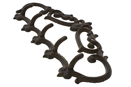 "Cast Iron Wall Hanger - Vintage Design with 5 Hooks - Keys, Towels, Clothes, Anprons - Wall Mounted, Metal, Heavy Duty, Rustic, Vintage, Recycled, Decorative Gift Idea - 12.9x 6.1""- With Screws And Anchors By Comfify - CA-1504-25-BR 3"
