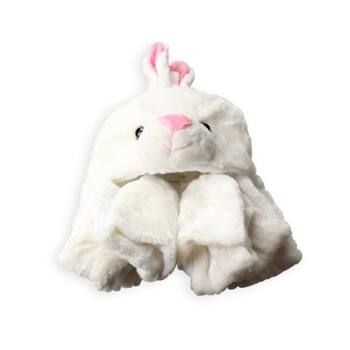 Vktech Erwachesene Kinder Mütze Hut + Schal + Handschuhe 3 in 1 (Weißhase)