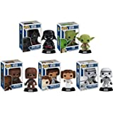 Funko POP! Star Wars Series 1 - Vinyl Bobble-Heads - SET OF 5 (Chewbacca, Yoda, Darth Vader & More)