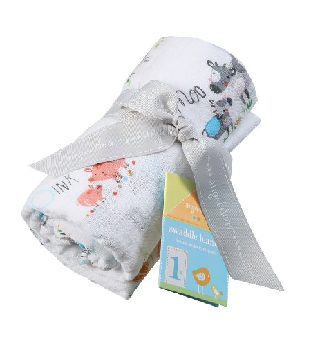 Angel Dear Muslin Swaddle Two Pack-Farm Yard and Blue Chevron