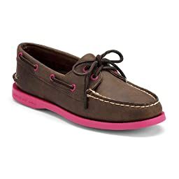 Sperry Top-Sider Women\'s A/O 2 Eye Slip-On,Dark Brown (Fuchsia),8.5 M US