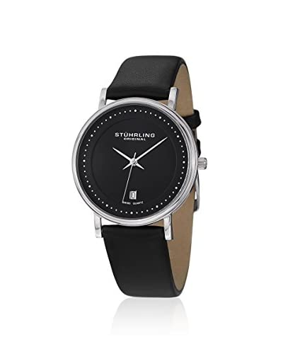 Stuhrling Original Men's 734G.02 Ascot Castorra Stainless Steel and Black Leather Ultra-Slim Watch
