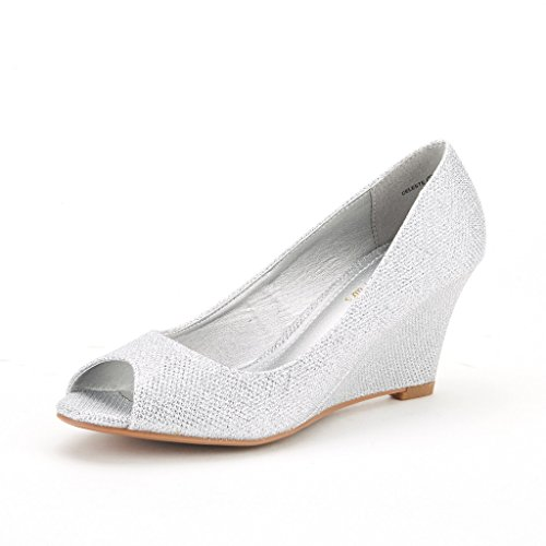 DREAM PAIRS CELESTE Women's Elegant Classy Open Toe Mid Heel Wedge Platform Pumps Slip On Shoes New SILVER SIZE 7