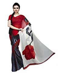 ISHIN Georgette Red & White Printed Saree