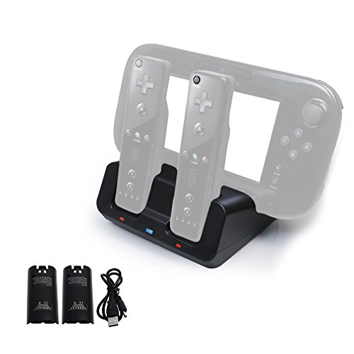 Fastsnail 3 in 1 Charging Dock for WII U Remote Gamepad and Controller, Portable Blu-ray Charging Station Base with 2 Rechargeable Batteries BLACK(Wii Controllers Not Included) (Wii Quad Dock compare prices)