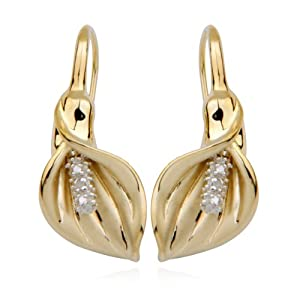 18k Yellow Gold Plated Sterling Silver Diamond-Accent Calla Lily Earrings